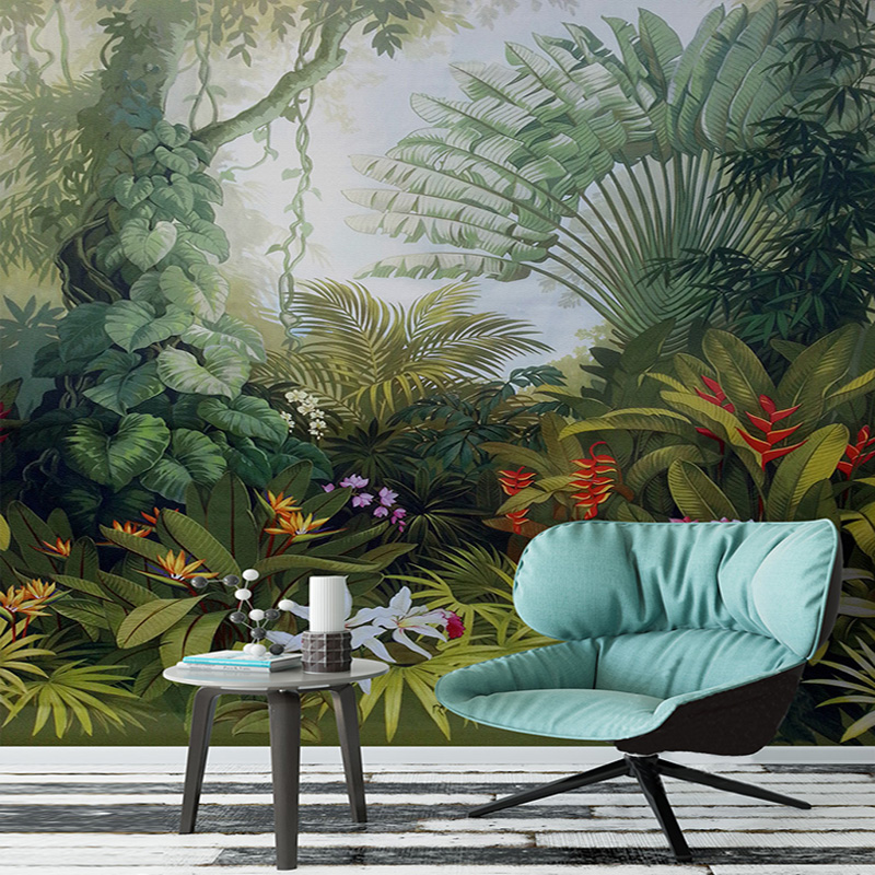 Custom mural wallpaper hand painted tropical rainforest for Custom mural painting