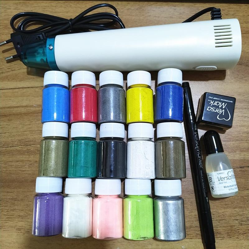 Versa Mark Embossed Powder Printing Pad Supplement Liquid Set DIY Handmade, Embossed Powder DIY Paint Rubber Stamp Scraping Tool