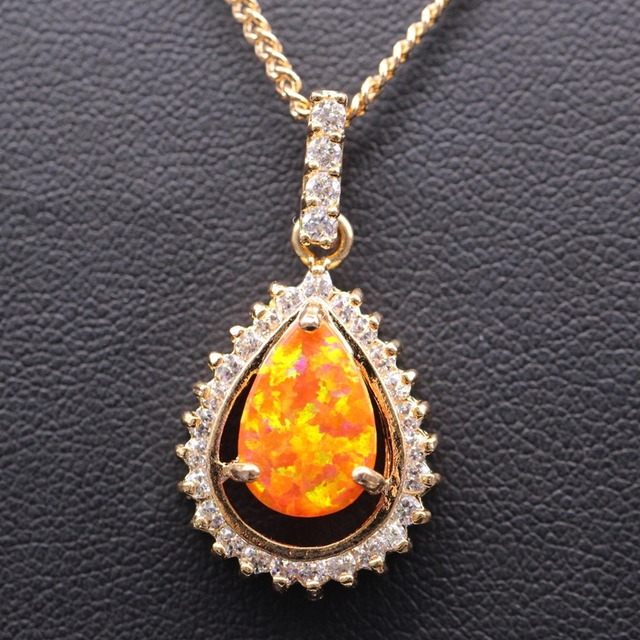 Beautiful High quality Gold Plated AAA Cubic Zircon  White/bule/pink/orange Fire Opal Waterdrop Necklace Pendant 5colors