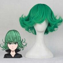 واحد لكمة رجل Tatsumaki شعر مستعار تأثيري 30 سنتيمتر 11.81 قصيرة مجعد متموج مقاومة للحرارة الاصطناعية الشعر أنيمي زي شعر مستعار للحفلات الأخضر