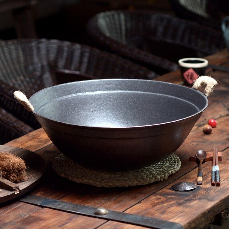 Cast Pentola di Ferro a Fondo Tondo Grande Pentola di Ferro A Casa di Spessore Ghisa Wok di Ferro Naturale Non-stick Pot Wok Casseruola selezionato