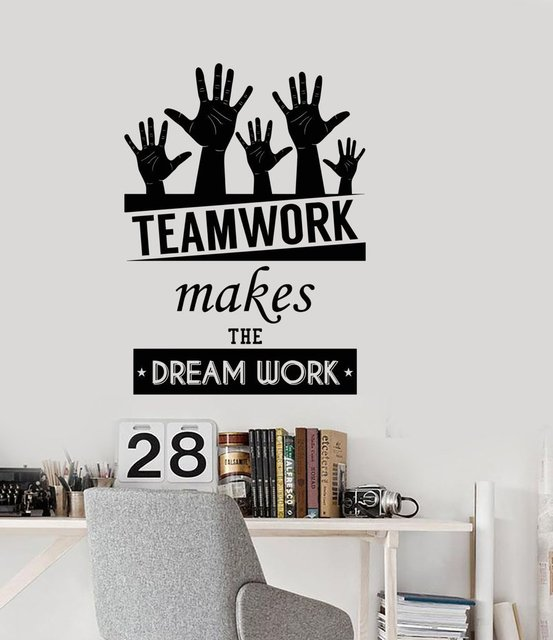 102c70016567 Wall Stickers Office Space Inspirational Words Team Work Motivational Quotes  Home Office Decor Vinyl Wall Decal Art Decoration