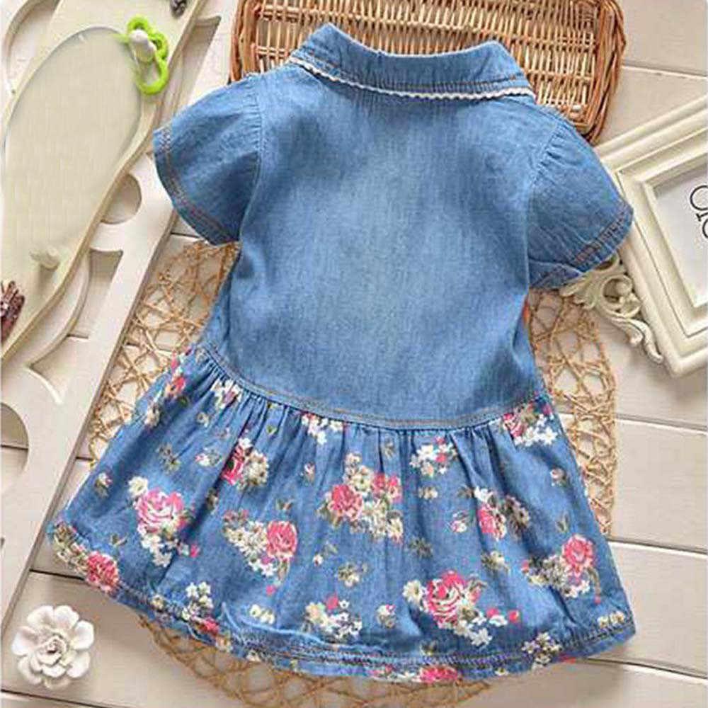 Мод Девушки, Цветочный принт короткий рукав, с бантом в стиле принцессы платье из джинсовой ткани комплект sep26
