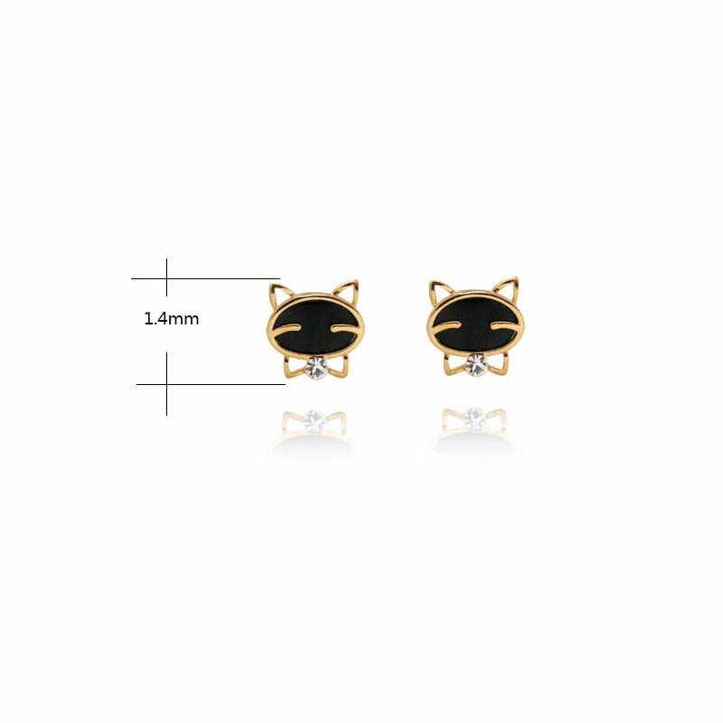 ขายสีดำยิ้มแมวสีทองอ่อนคริสตัลอินเทรนด์ผู้หญิง Ear Stud ต่างหูหญิง Fine Stud ต่างหูเครื่องประดับของขวัญ