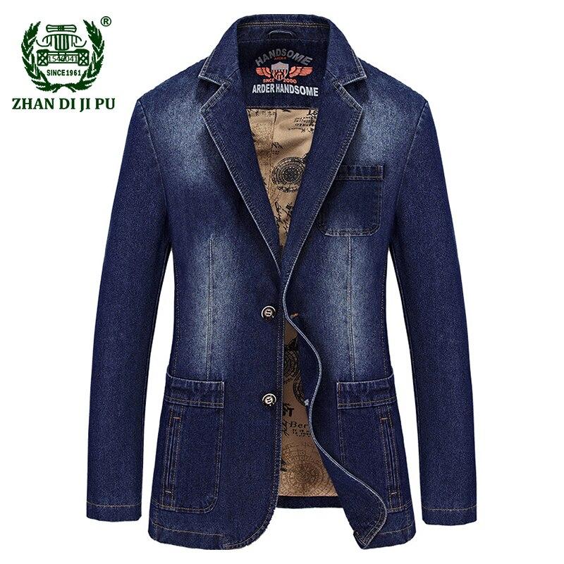 2018 degli uomini di Autunno di alta qualità di marca casuale cowboy cotone sottile blazer cappotti uomo primavera afs jeep moda blazer denim blu abiti-in Giacche da Abbigliamento da uomo su  Gruppo 1