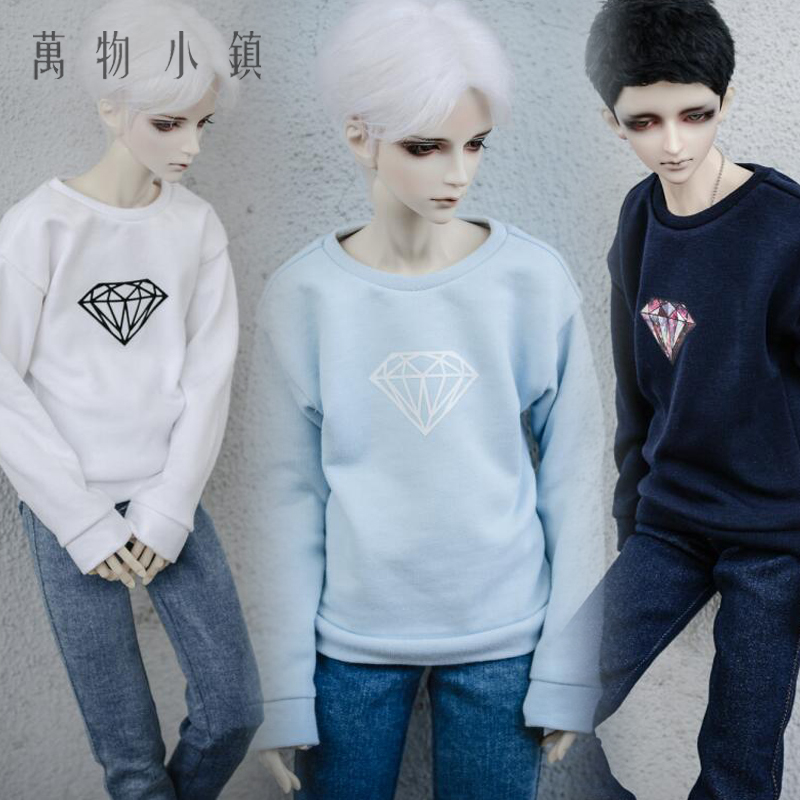 New Diamond Printing Black/Blue/White Tops 1/3 1/4 Uncle Boy BJD SD MSD Doll Clothes new handsome fashion stripe black gray coat pants uncle 1 3 1 4 boy sd10 girl bjd doll sd msd clothes