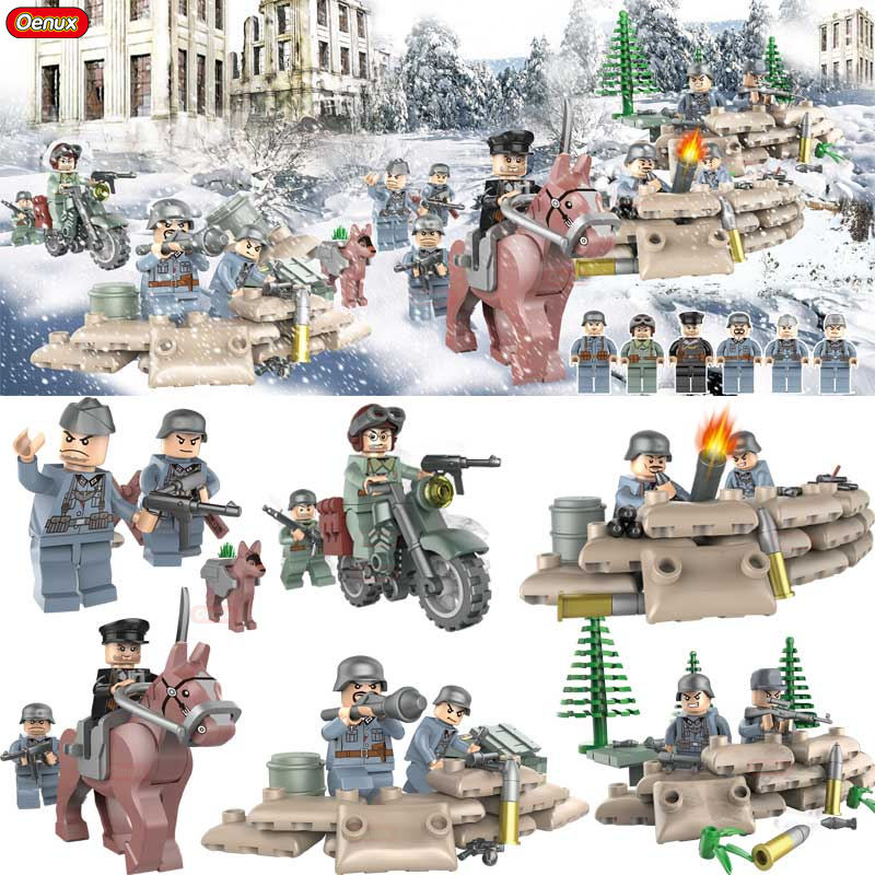 Oenux World War 2 6PCS The Battle of Stalingrad Military Building Block Set WW2 Military Soldier Figures Building Brick Kids Toy 4pcs ww2 the battle of black forest militray model building blocks set army german soldier minifigures bricks toy for kids gifts