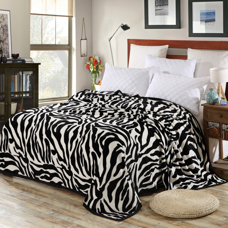 Super Comfortable Soft Mink Felting Blanket Zebra Striped Pattern Floral Blanket Thrown On The Sofa / Bed / Travel Breathable