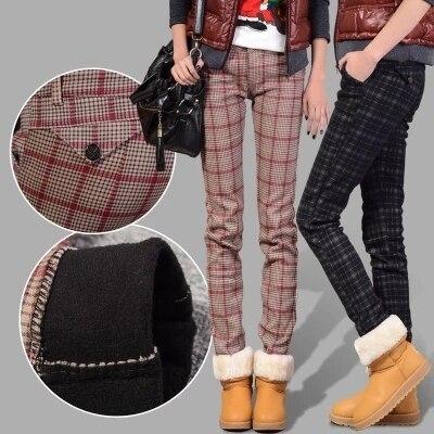 Плюс размер брюки женские Клетчатые брюки ноги зима женщины талия тонкий утолщение тепловой плед брюки случайные хлопка зимние женские брюки