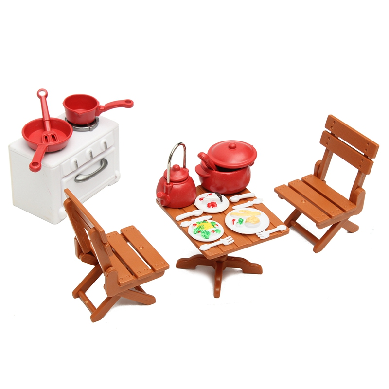 KiWarm New 1 Set Miniatures Kitchen Dining Furnitures Table Chairs With Cooking Tools Dolls Ornaments for Home Decor Kids Gift