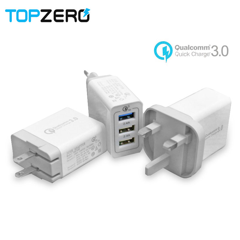 3 Ports Quick Charge 3.0 USB Charger With free USB Cable For Huawei P20 iphone Samsung Xiaomi Fast Phone Charger EU UK US Plug