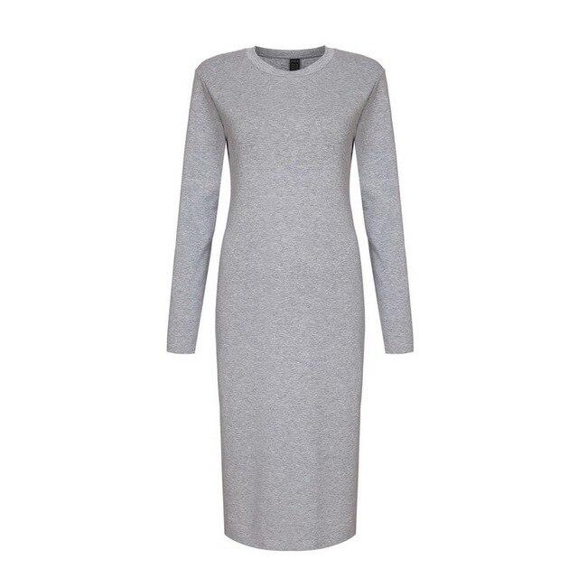 91133d704c Women Maxi Grey Long Sleeve Skinny Back Split Bodycon Dresses stretchy Round  Neck Formal Elegant Cotton