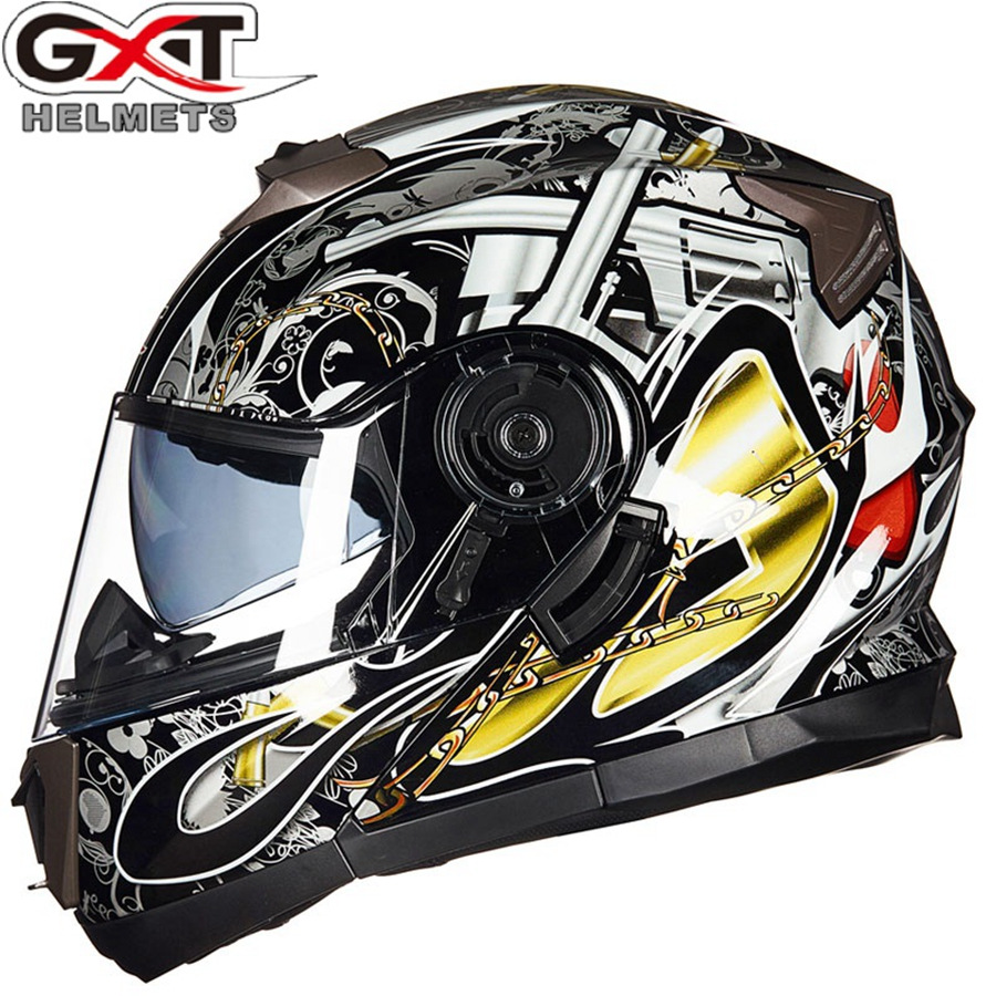 Free shipping 1pcs GXT DOT Dual Visor Flip Up Full Face Modular Casco Capacete Moto Bike Motocross Safety Motorcycle Helmet
