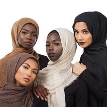 ZOGAA Monochrome Cotton and Hemp Muslim Nationality Scarf Solid Fashion Shawl Wrap Beautiful Hijab Islamic Arab