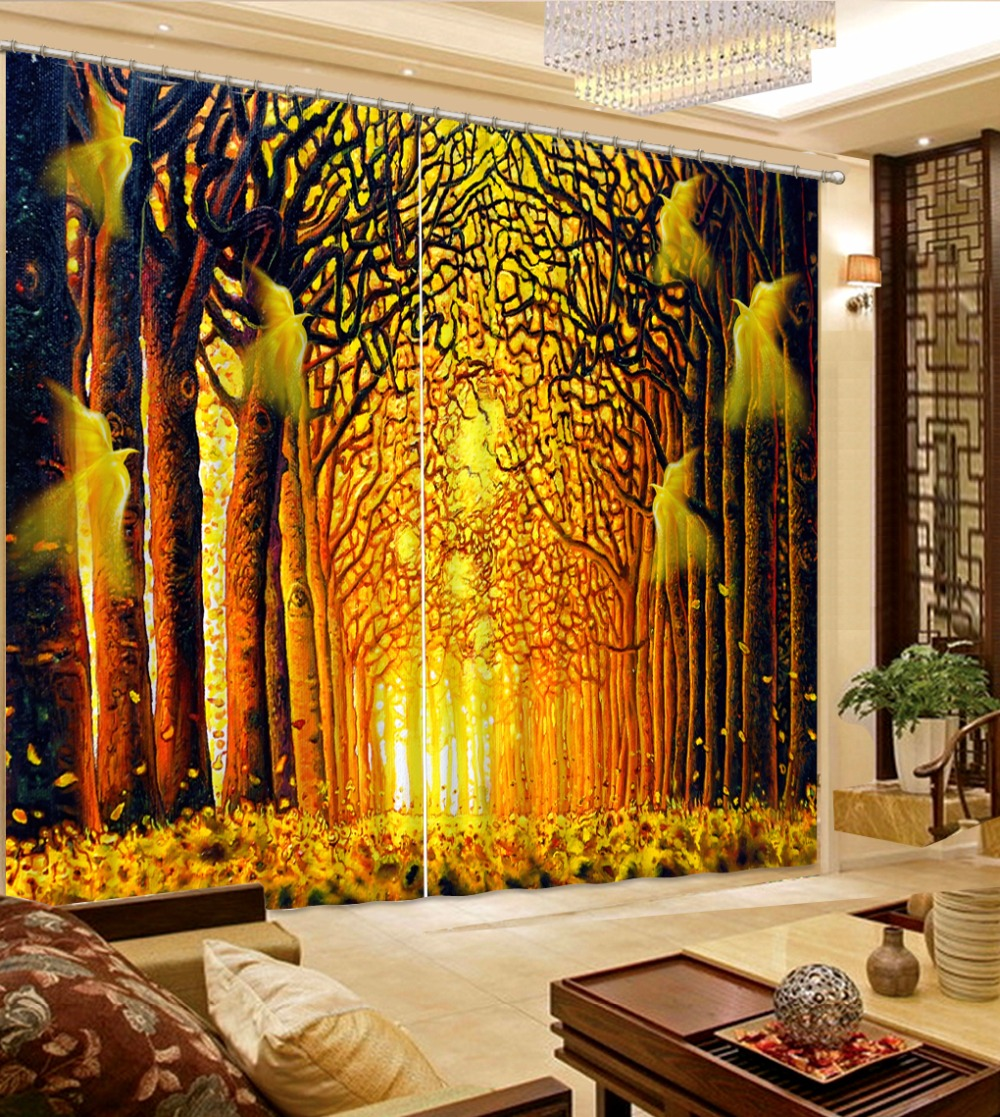 Custom Curtains Yellow 3d Curtains Curtains For Living Room Modern(China)