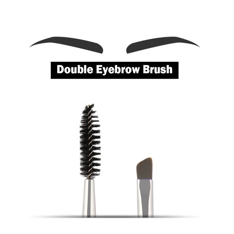 Double Head Synthetic Hair Plastic Handle Pro Eyebrow & Eyelash Brush Cosmetic Makeup Brush Tool 6 Colors 1795