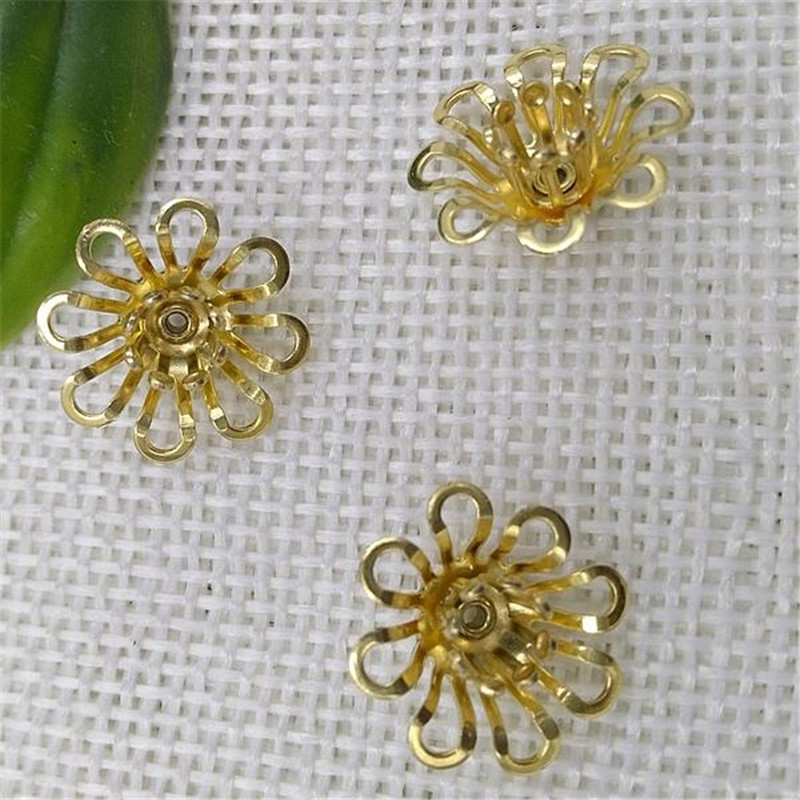 50pieces/lot 15mm Original Brass Components Flowers Slice Jewelry Charms Accessory Findings B10023