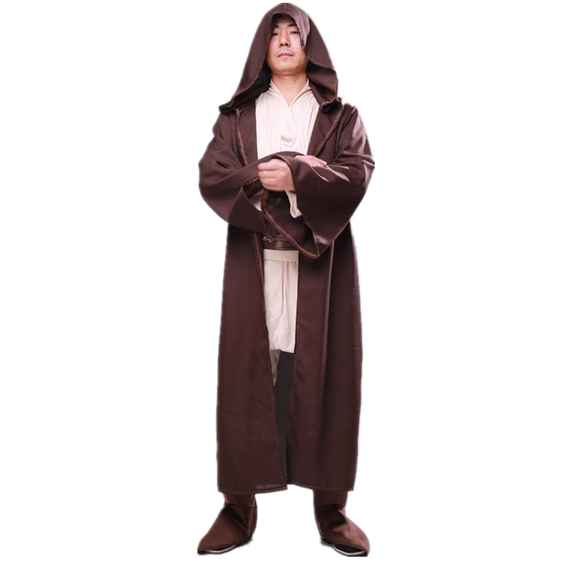 Deluxe Halloween Cosplay Costumes Adult Men Cosplays Star Wars Jedi Cloak Hooded Robe Cloak Cape Christmas Performance Clothing
