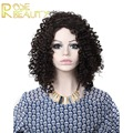Anime wig hair Fashion Natural Black Tight Kinky Curly Short cosplay Heat Resistant Synthetic Hair Women Wigs(Dark Brown/Blonde)