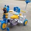 Alta qualidade dos desenhos animados da música triciclo assento duplo carrinho de gêmeos, gêmeos bicicleta
