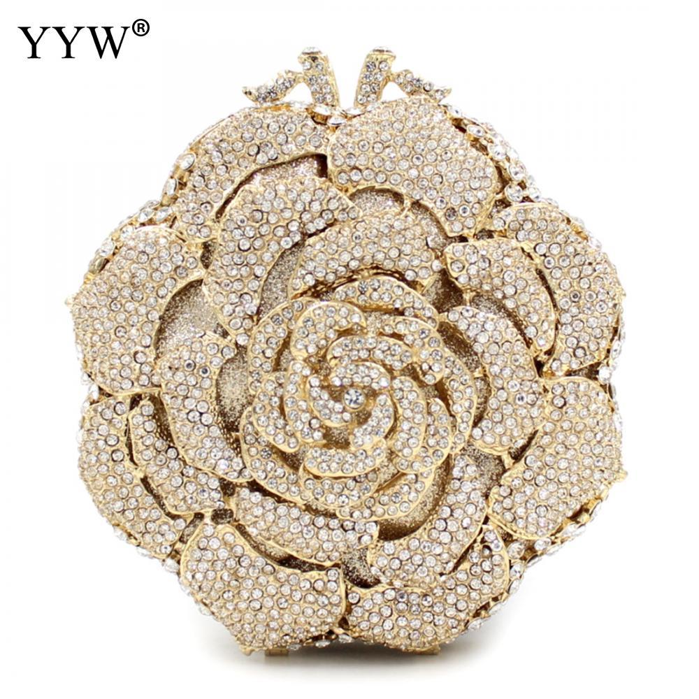 Mode diamants strass Floral embrayage femmes sac à bandoulière Designer en métal bijoux chaîne sac de soirée pour les femmes 2018 livraison directe