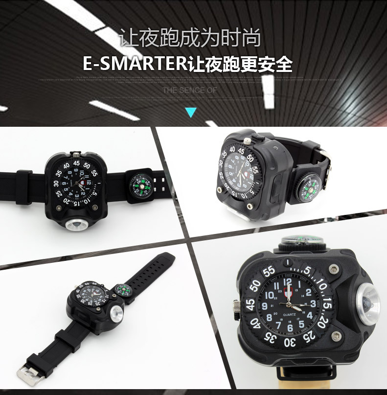 bright watch light flashlight with compass outdoor sports mens fashion Waterproof LED rechargeable wrist watch lamp torch in Headlamps from Lights Lighting