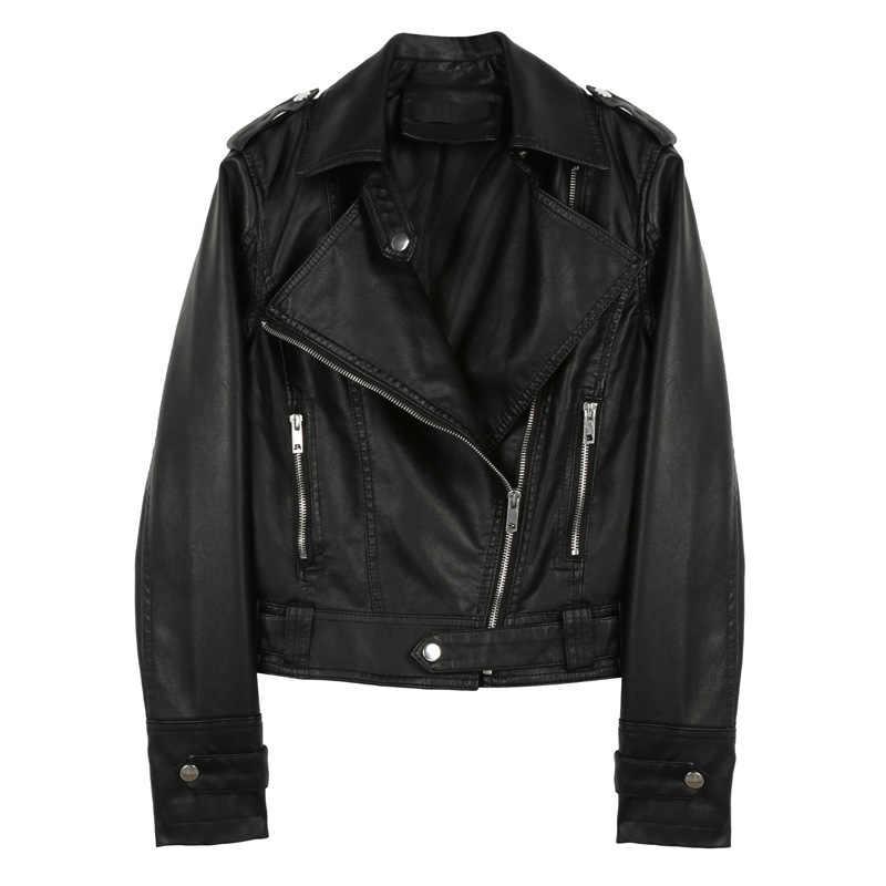 Neue Mantel Frauen Hohe Qualität Frauen Mode 2018 Kühlen Luxus Einfarbig Kurzen Absatz Kleidung Freizeit Slim Fit Leder Jacke