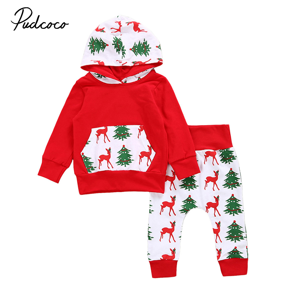 Christmas Baby clothes set Red Newborn Baby Boys Girls Deer print Hoodie + Pants 2Pcs Outfits Set Clothes Baby clothing