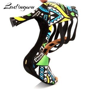 Image 5 - Ladingwu Brand Latin Dance Shoes Ladies Dance Boots Elastic band adjustment Ballroom Dance Shoes Blue African texture Shoes