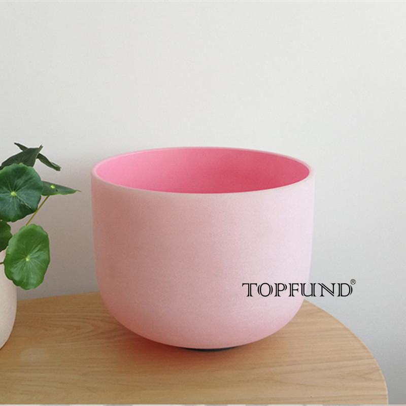 TOPFUND F Note Heart Chakra Pink Colored Frosted Quartz Crystal Singing Bowl 8
