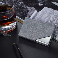 Business Credit Card Holder Metal  Aluminum Case PU Leather Porte Carte