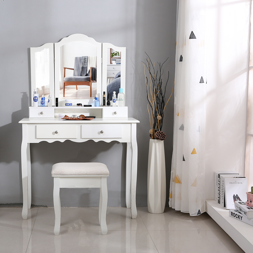 Fashion Dresser Bedroom Simple Vanity Makeup Table Set with Stool & Mirror & 4 Drawers Ship From France HWCFashion Dresser Bedroom Simple Vanity Makeup Table Set with Stool & Mirror & 4 Drawers Ship From France HWC