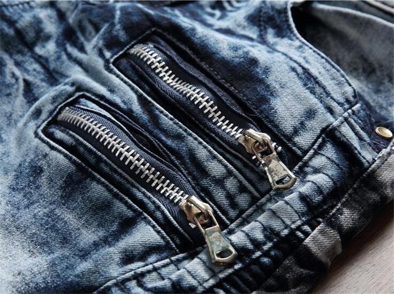 Nuevos hombres Biker Jeans Pantalón Multil Pocket Slim Fit plisado - Ropa de hombre - foto 5