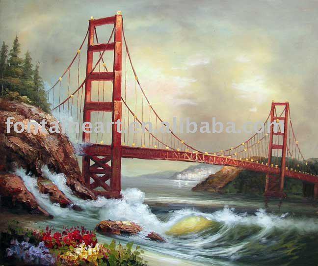Golden Gate Bridge San Francisco California Sunset Picture: Handpainted Impressionist Golden Gate Bridge San Francisco