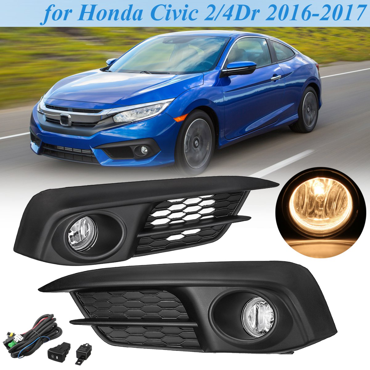 1 Pair Bumper Light Sub-Assy Clear+Wiring Switch+Bulbs Front Bumper Fog Light Lamp Front for Honda for Civic 2016 2017 front light