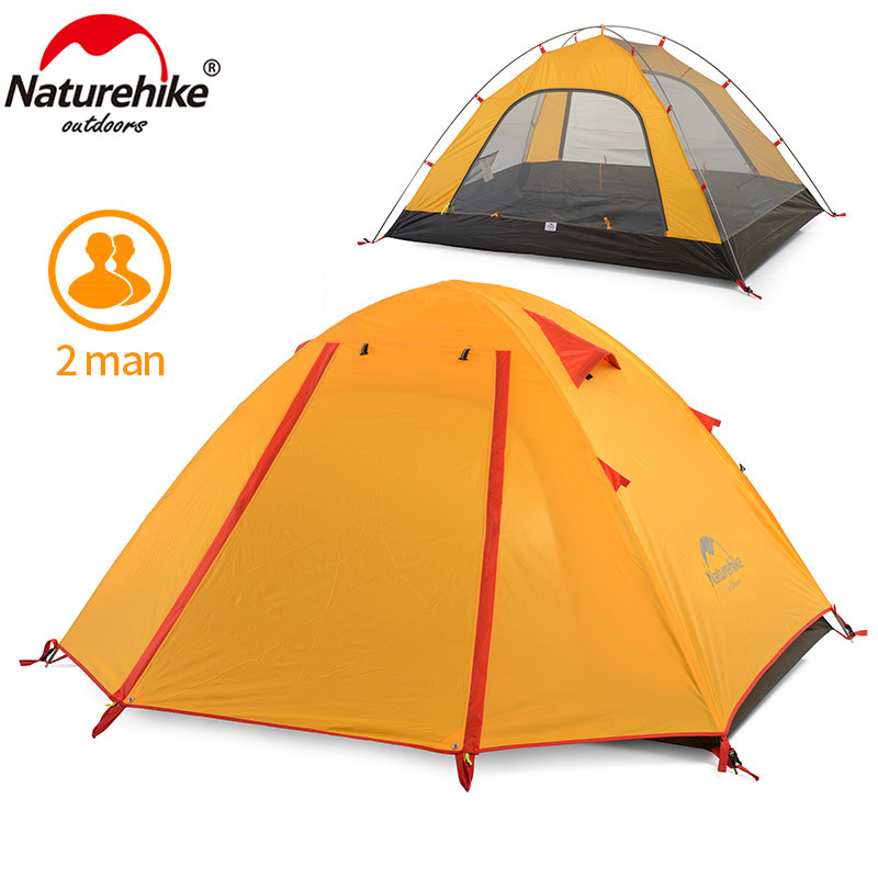 Naturehike camping tent for outdoor recreation double layer waterproof 2 person tent  travel tents camping 3 season naturehike 3 person camping tent 20d 210t fabric waterproof double layer one bedroom 3 season aluminum rod outdoor camp tent