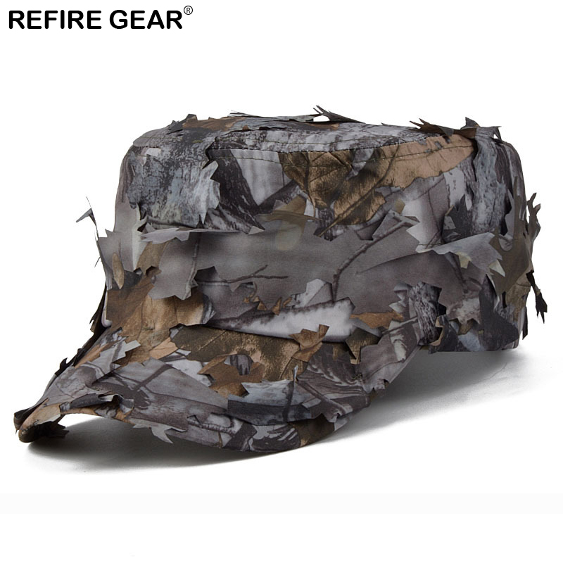 New Outdoor Conceal Camouflage Flat Cap Men Jungle Bionic Camo Hiking Camping Cap Quick  ...