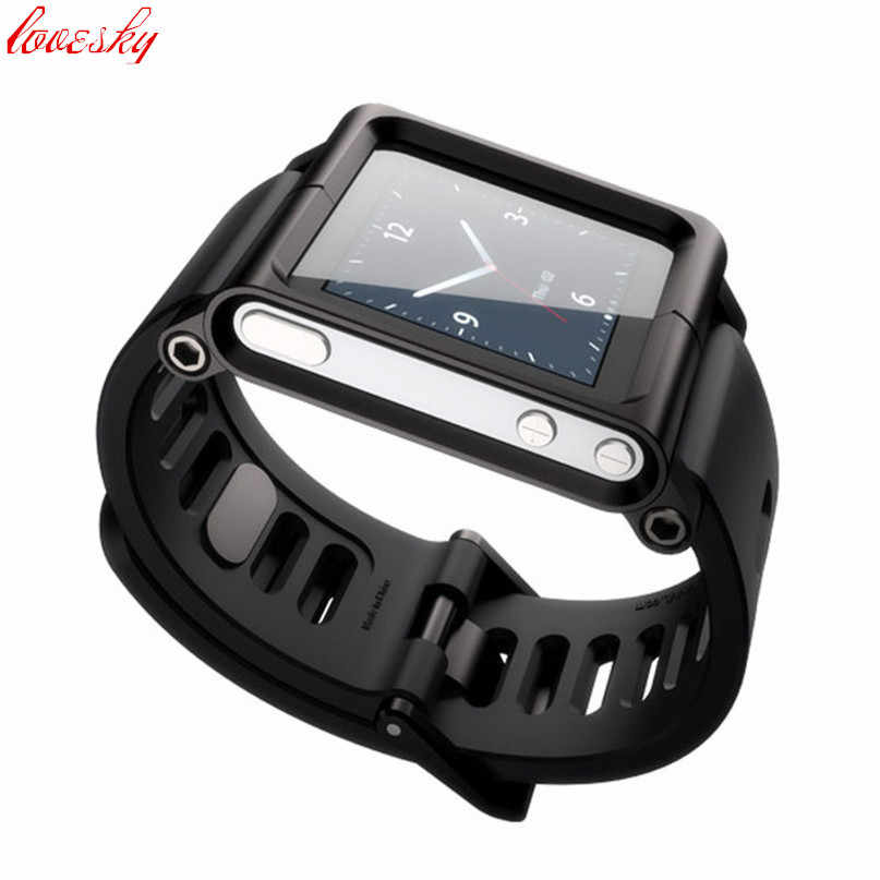 Aluminium Campuran Silicone Case Multi-Touch Watch Band untuk IPod Nano 6/6th