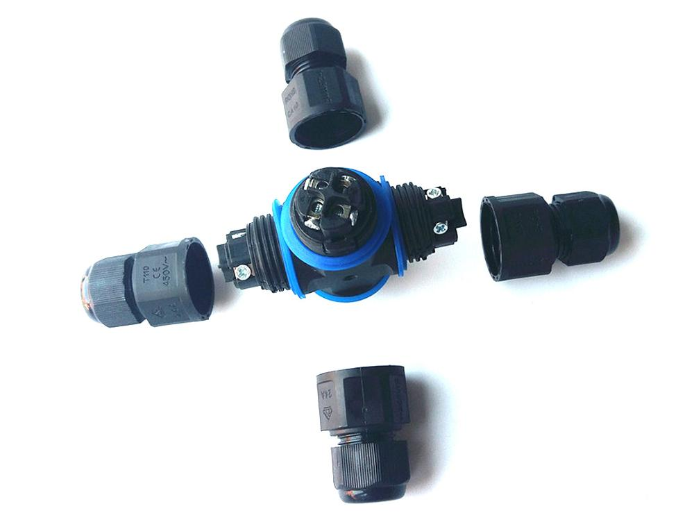 IP68 Waterproof Connector For Outdoor Light 3Pin Adapter Screw Locking Cable Industrial Electrical Wire Cross Shape Junction Box in Connectors from Lights Lighting