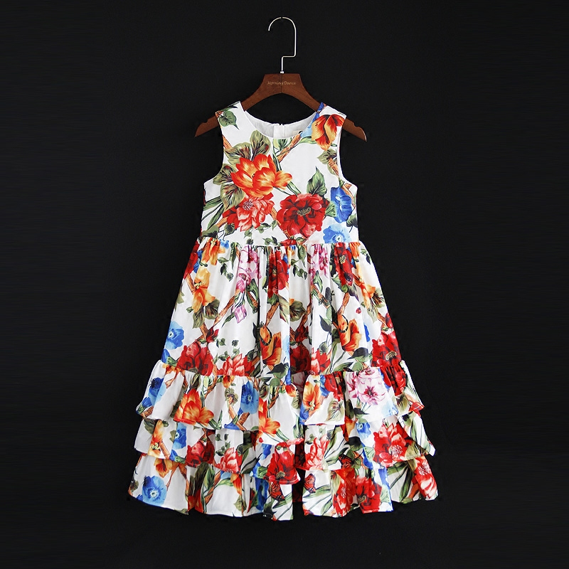 Summer children clothing family clothes girl sleeveless pleated dress kids women beach dress mother daughter flower tiered dress trendy flat collar sleeveless pocket design buttoned dress for women