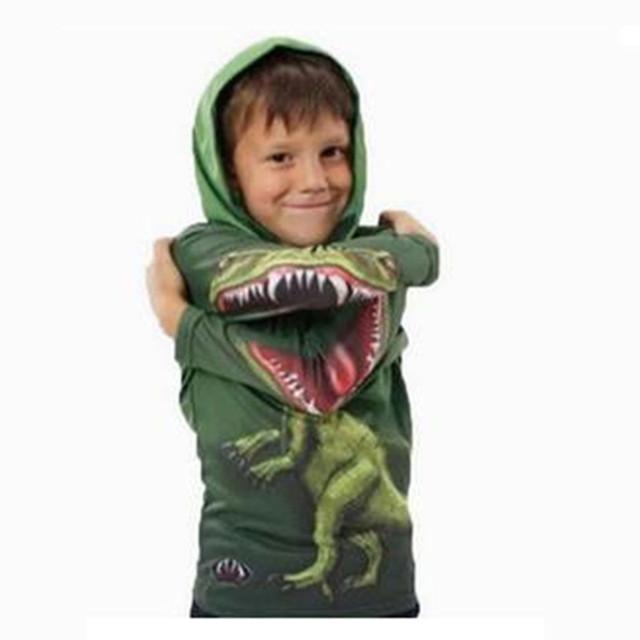 2016 Crianças Outono Inverno Novidade Dinossauro Dos Desenhos Animados Camisola Casaco Meninos Meninas Moletom com capuz