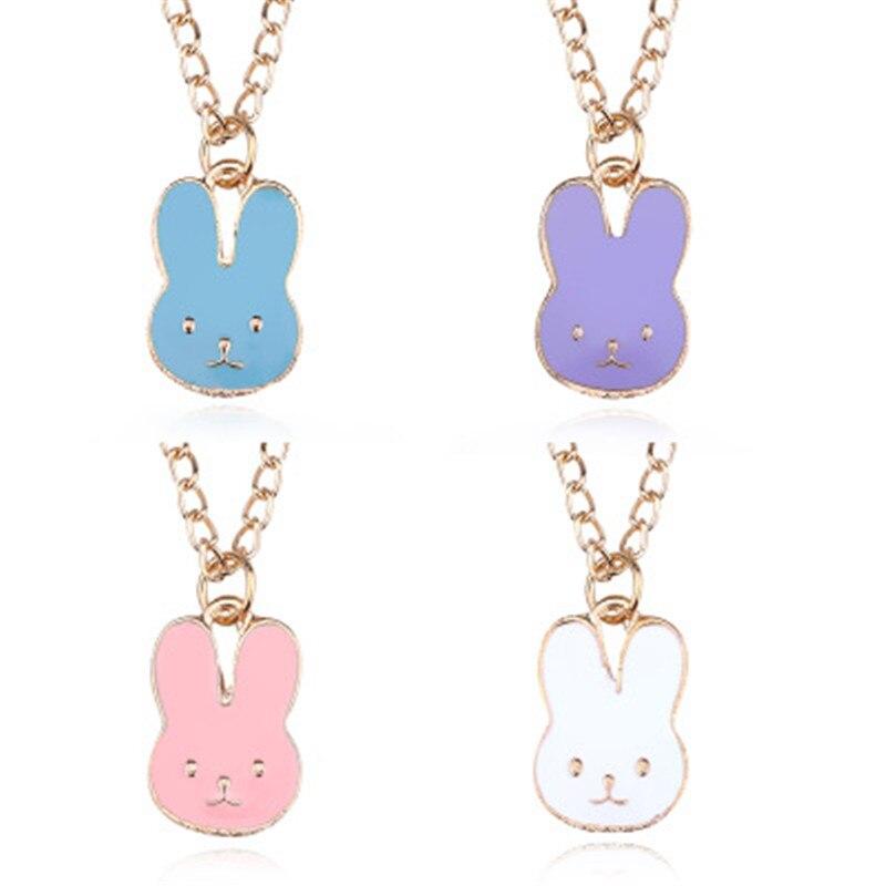 100% Quality Hot Fashion Cartoon Drop Oil Rabbit Head Necklace Exquisite Super Cute Animal Pendant Ornaments Wholesale