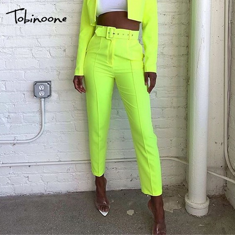 Tobinoone Casual High Waist Women Pants 2019 Fashion Straight Belted Pockets Trousers Women Long Pants Sweatpant Streetwear