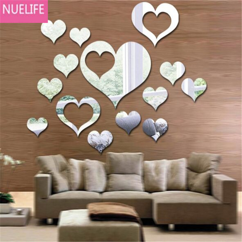 Multiple love shape pattern mirror wall stickers wedding room bedroom living room sofa background wall decorative mirror sticker