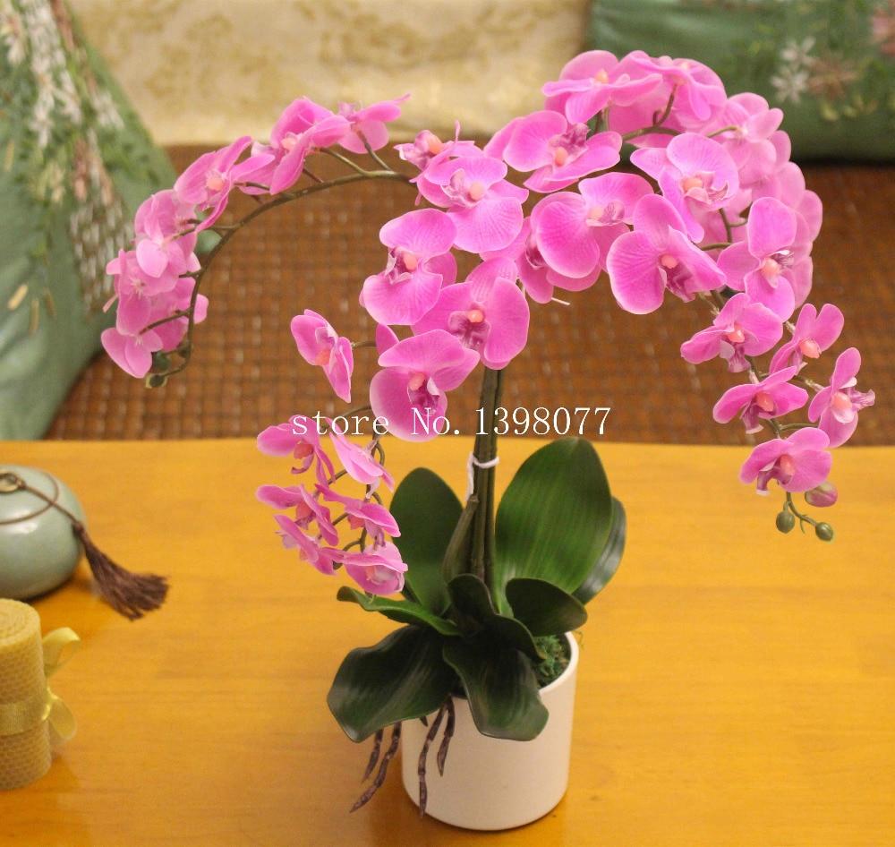 1set Flower Vase Artificial Orchid Flower Arrangement