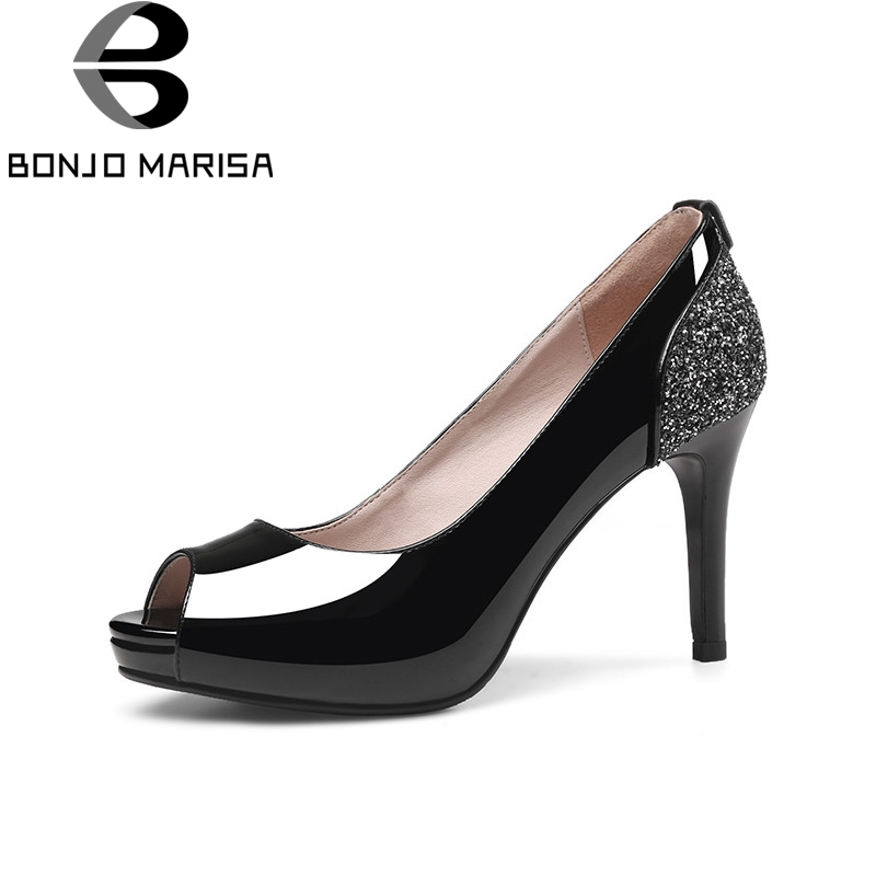 BONJOMARISA 2018 Summer Black Patent Leather Women Pumps Platform Glitters Shoes Woman High Heels slip-on Shallow Lady Shoe wdzkn 2017 summer autumn breathable genuine leather high heels women platform shoes black white slip on women wedge casual shoes