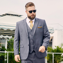 Midlife gray plus-size suit man fat mens plus-size business suit manloose version of the business suit