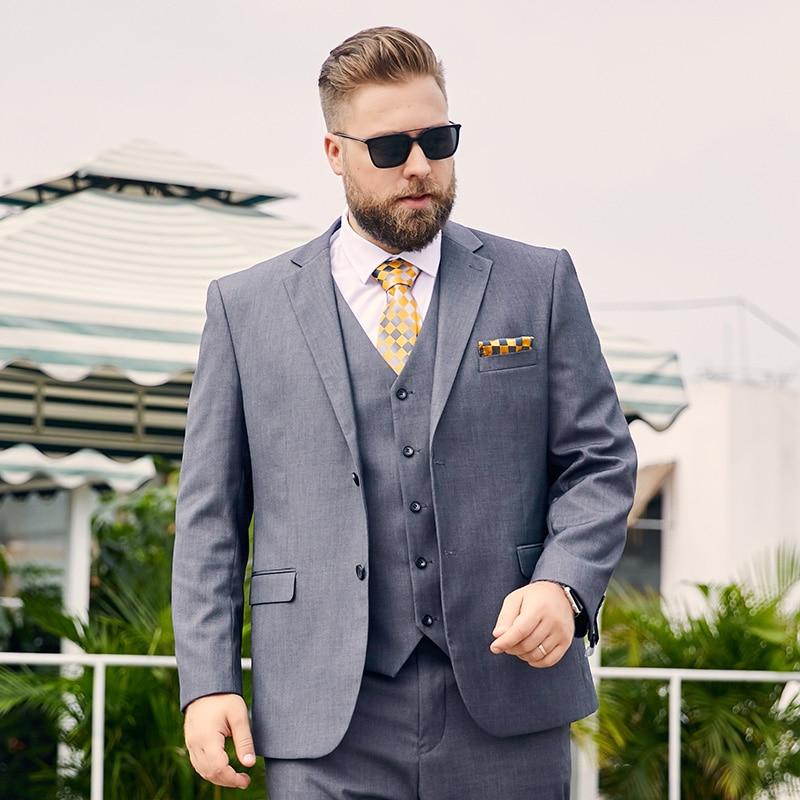 Midlife Gray Plus-size Suit Man Fat Mens Plus-size Business Suit Manloose Version Of The Business Suit