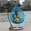 Blue color hanging rattan chair furniture with cushions