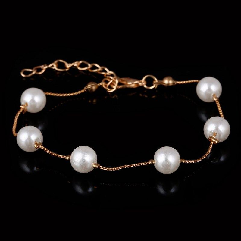Ожерелье из искусственного жемчуга, высокое качество, не вызывает аллергии, опт, золотой цвет, массивное ожерелье, цепочка,, жемчужные украшения - Окраска металла: bracelet gold